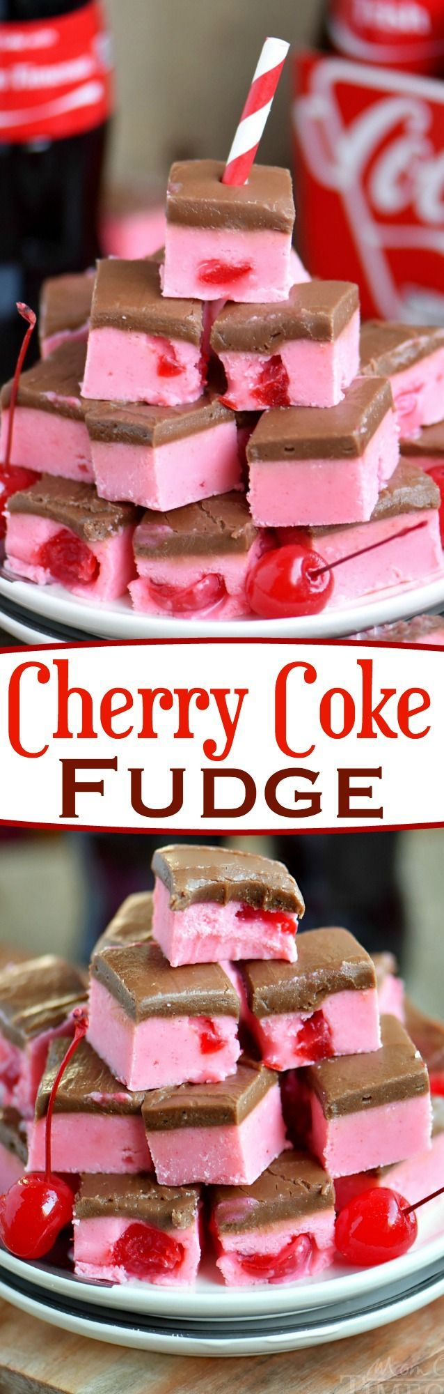 Because we can... Cherry Coke Fudge! A decadent cherry fudge topped with a Coca-Cola chocolate frosting! This irresistible fudge is sure to be a hit!