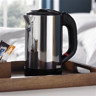 Eco Stainless Steel 0.6 Litre Hotel Kettle Our stylish 0.6 litre stainless steel cordless eco hotel kettle brings you the best of all worlds. In a choice of mirror or satin finishes, it has a perfect capacity, small enough so your guests don't boil away your profits. http://www.outofeden.co.uk/Products/5504/eco-stainless-steel-0-6-litre-hotel-kettle