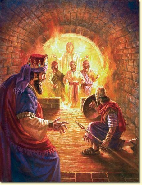 Daniel 3:24-25 Entonces el rey Nabucodonosor se espantó, y se levantó apresuradamente y dijo a los de su consejo: ¿No echaron a tres varones atados dentro del fuego? Ellos respondieron al rey: Es verdad, oh rey. Y él dijo: He aquí yo veo cuatro varones sueltos, que se pasean en medio del fuego sin sufrir ningún daño; y el aspecto del cuarto es semejante a hijo de los dioses. ♔