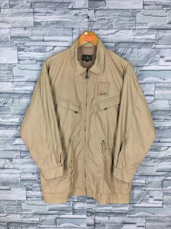 Vintage 90 S Fendi Roma Jeans Jacket Large Fendi Zucca Brown Color Italy Designer Parka Coat Sports Jacket Size L Parka Coat Jean Jacket Jackets