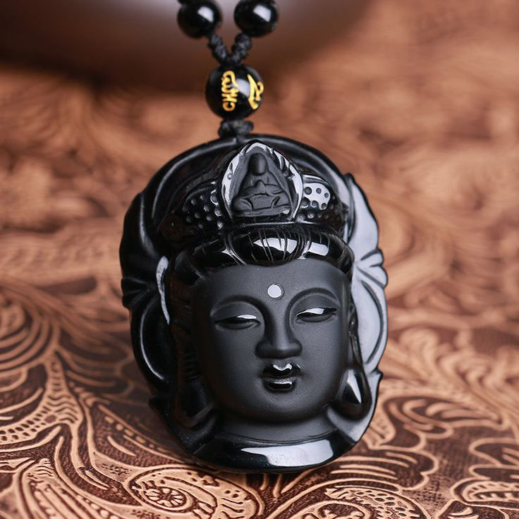 Natural Black Obsidian Kwan-yin Pendant Charm Necklace Lucky Jewelry Collocation Clothing at Banggood