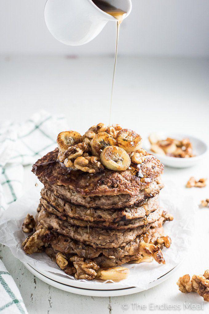 Walnut Banana Protein Pancakes