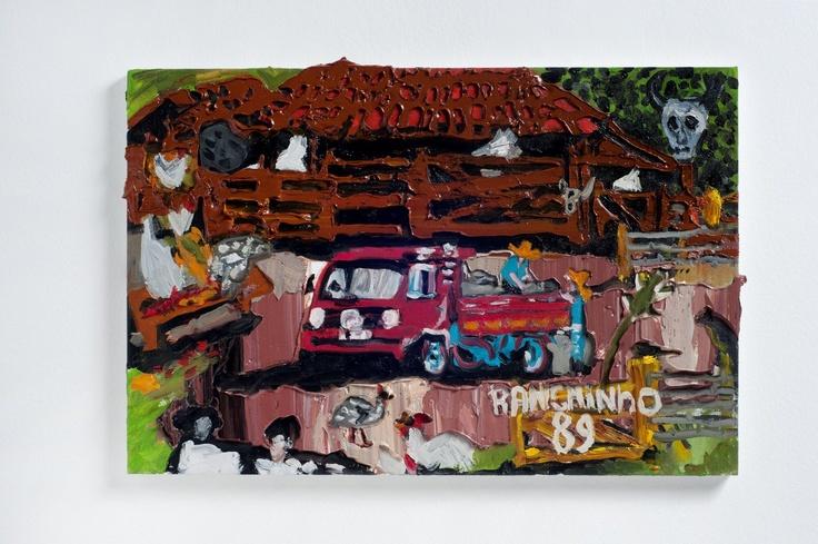 Rodrigo Andrade - 2012 |  Versão sobre a obra de Ranchinho Caminhão de leite-1989 |  Óleo sobre tela sobre mdf |  40 x 60 cm