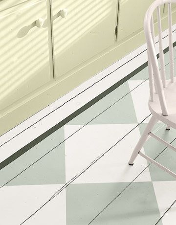 Paint your floors with linseed oilpaint i colors: http://www.byggfabriken.com/sortiment/farg-och-ytbehandling/linoljefarg/vit-gra-och-svart/info/produkter/440-221-vit-graeddton/  and add som withe to: http://www.byggfabriken.com/sortiment/farg-och-ytbehandling/linoljefarg/gron-och-bla/info/produkter/441-501-bladgroen/