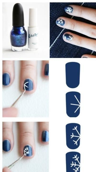 Snowflake nail art. Doesn't look too complicated