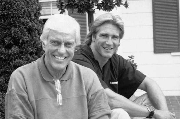 Dick Van Dyke, left, poses with his son Barry Van Dyke, Oct. 16, 1988