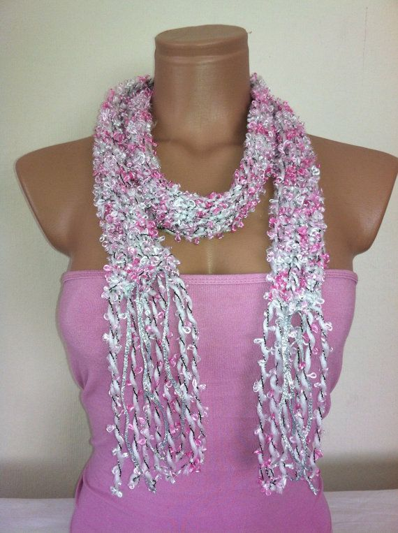 Pinkwhitesilver scarf with fringes by Arzus on Etsy, $13.90