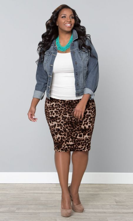 "chambray shirt, white camisole. leopard skirt. nude heels #thick #curvy ""if you like my curvy girl's fall/winter closet, make sure to check out my curvy girl's spring/summer closet."" http://pinterest.com/blessedmommyd/curvy-girls-springsummer-closet/pins/"