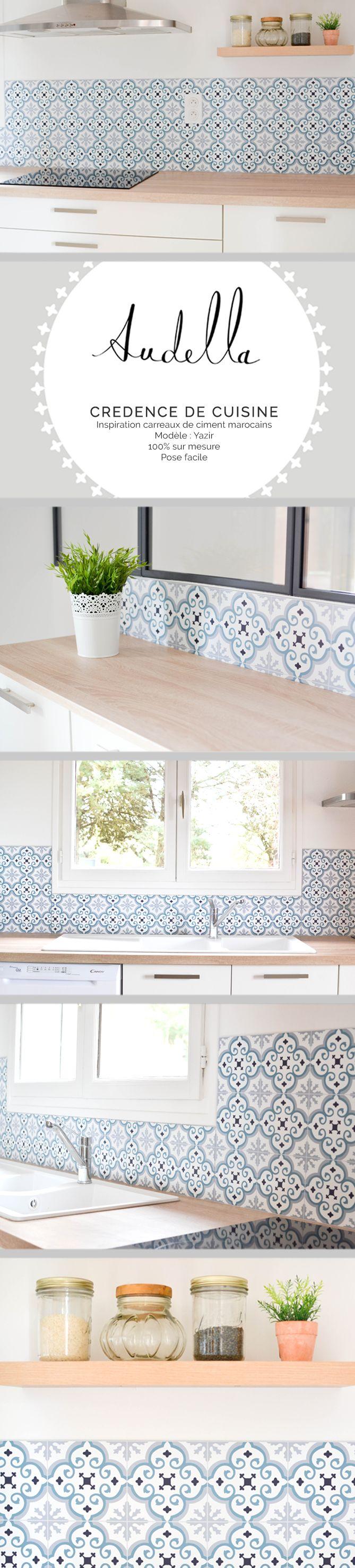 Réalisation d'une crédence de cuisine en panneaux aluminium, imitation carreaux de ciment, d'inspiration carreaux marocains. www.audella.fr #credence #cuisine #kitchenbacksplash #pattern #graphic #cementtiles #carreauxdeciment #kitchen #wood #white #light