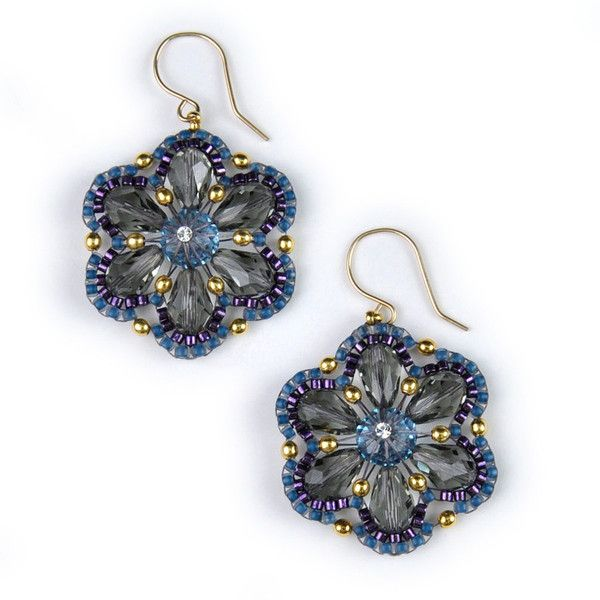 Designer Miguel Ases Crystal Dangle Earrings with Blue Seed Beads | Holsted Jewelers