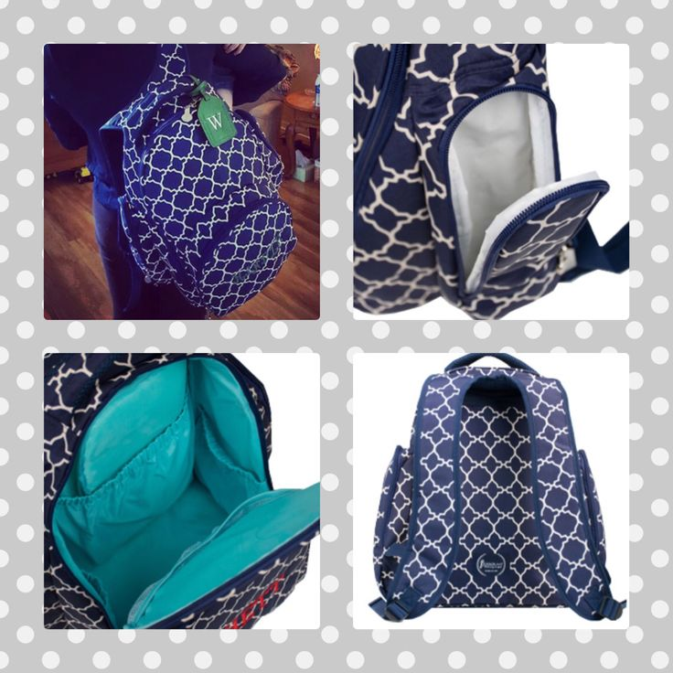 Oh baby backpack diaper bag in navy tile! Personalize for free. Initials inc fall/winter 2015! www.myinitials-inc.com/kimhain