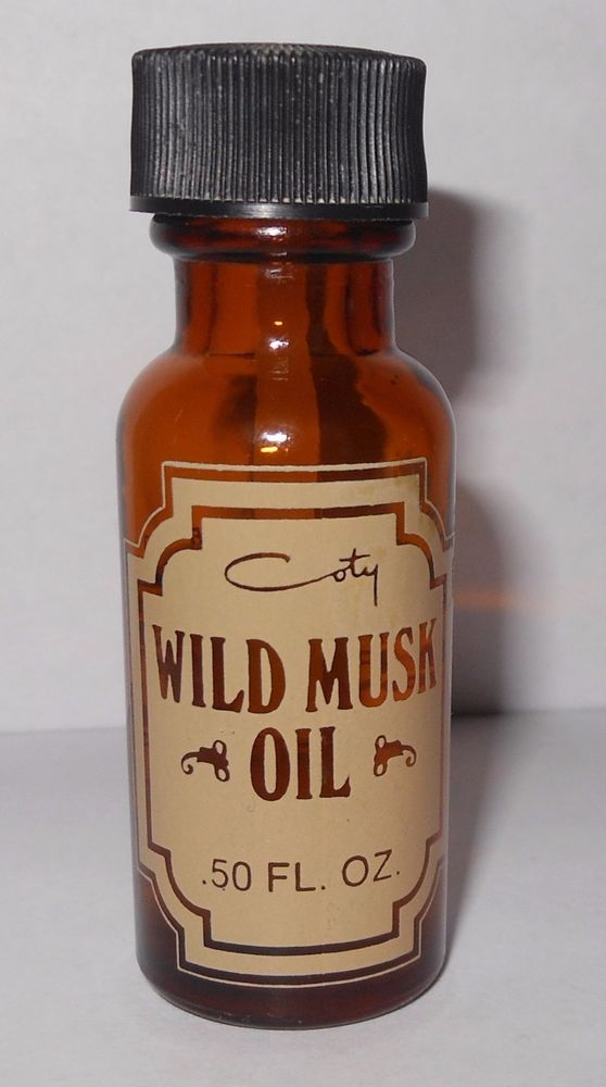 Vintage COTY Wild Musk Perfume Oil .5oz Discontinued Amber Glass Bottle 60% Full
