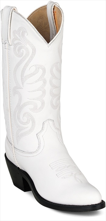 Durango Ladies White Cowboy Boots - Versatile white cowboy boots will look great at the wedding chapel or on the dance floor. Extremely comfortable for all day wear thanks to cushioned insole with flex forepart. Reasonably priced leather white cowboy boots that will last saving you hard-earned dollars. - Style also available in tan, red and black