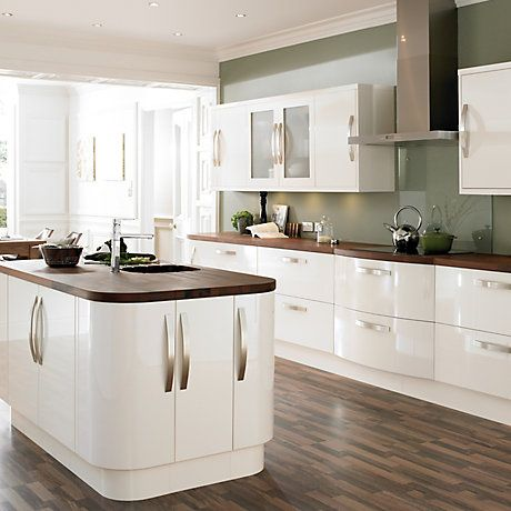 Cooke lewis high gloss cream kitchen ranges kitchen for Kitchen tiles ideas b q