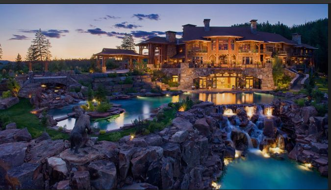 Amazing Log Home In Montana With Pond And Waterfall Log