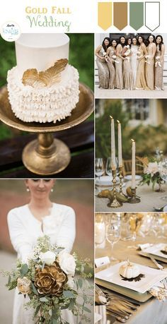 Fall Wedding Inspiration boards featuring the rich and festive Plum & Gold and one much toned down palette; a Gold Fall wedding inspiration.
