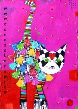 Funky Cat PRINT of Original Art by Donna Sharam