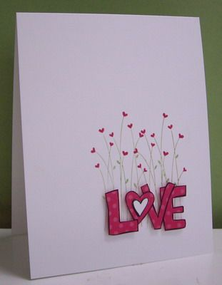 Heart wild flowers with long stems Stamping with Loll: (SU) valentine defined