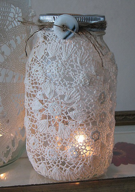Mason jar covered in crochet. I either need to learn to crochet or bribe my crocheting friends....