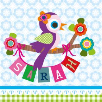 lief geboortekaartje, met vogel op tak en naamslinger