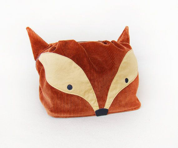 Large toiletry bag, big cosmetic bag: Fox  This fox is in fact a large toiletry bag, that is perfect for short and long trips. It's big enough for all your bath and beauty accessories. It's been made of strong corduroy. Interior is made ​​of a durable, waterproof fabric. The bottom of this big cosmetic bag is padded, which helps to keep your things safely organized.  #largetoiletrybag #bigcosmeticbag #foxbag  #largebag #uniquetoiletrybag #bigvanitypouch #foxpouch #szududu #teampinterest