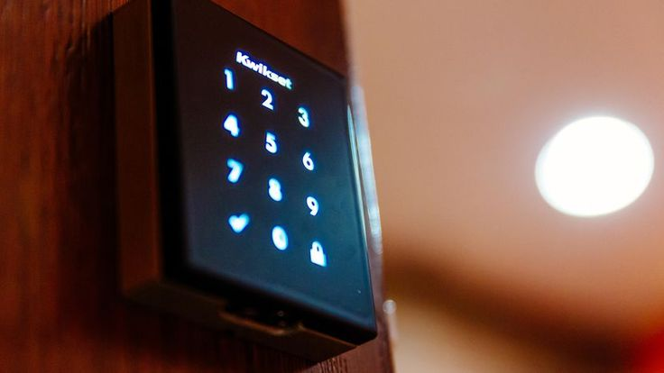 The Kwikset Obsidian is small and sleek, with a simple touchscreen keypad.