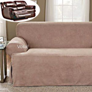 Reclining T Cushion SOFA Slipcover Suede Chocolate Adapted for Dual Recliner Couch : dual reclining sofa slipcover - islam-shia.org