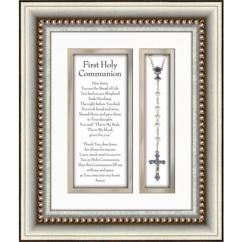 First Communion Prayer and Rosary with Silver Frame