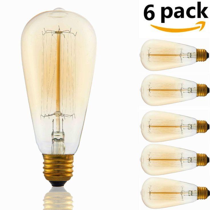 6 Pack Edison Vintage ST64 110V 60W E26 Light Lamp Bulbs Incandescent Filament…