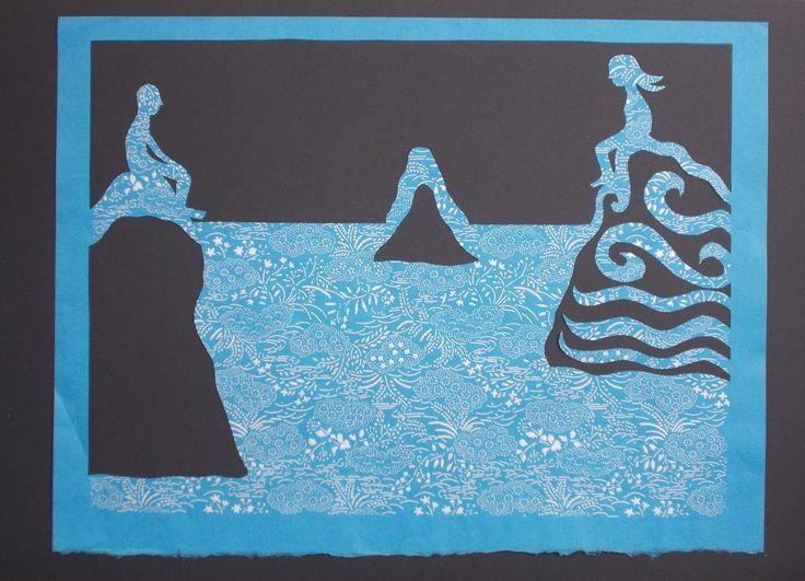 sea. paper cutting. carta washi