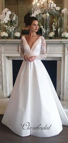 Long Sleeves Lace A-line Wedding Dresses, V-neck Stain Lace Wedding Dresses