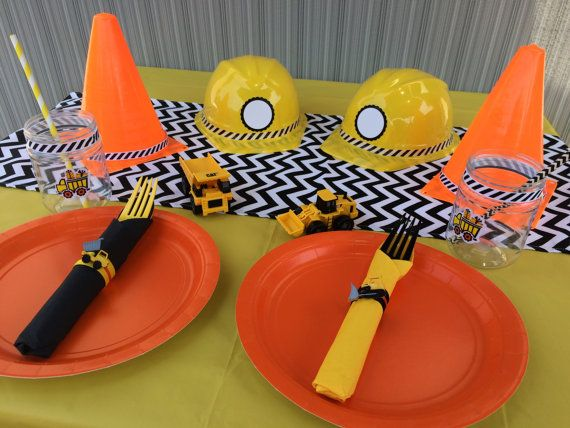 Construction Party Box - 5+ Place Settings for Construction Theme Party,  Dump Truck Tableware, Construction Party Supplies