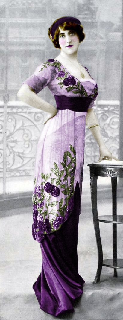 Beautiful violet evening dress - early 1900s (color added to photo)