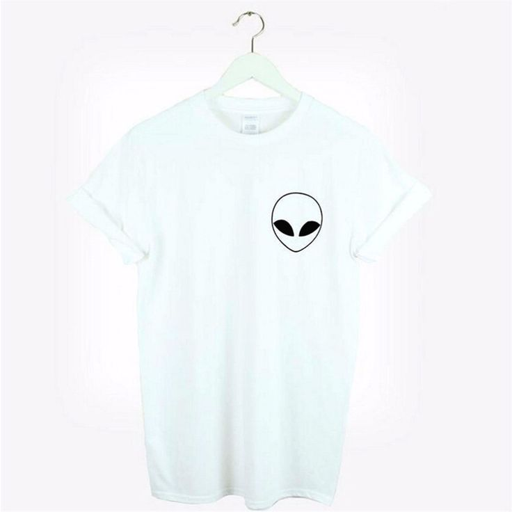 New Women Tshirt Alien Pocket Print Cotton Funny Casual Hipster Shirt For Lady White Black Top Tees Hipste
