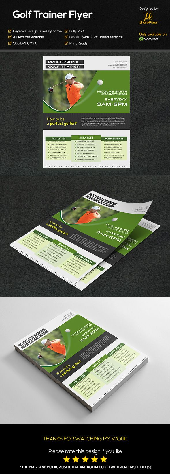 """Check out my @Behance project: """"Golf Trainer Flyer on CodeGrape"""" https://www.behance.net/gallery/42685837/Golf-Trainer-Flyer-on-CodeGrape"""