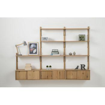 Raft Etajera din furnir de stejar Declan Oak System 2 living - o piesa de mobilier eleganta si practica, pe care vei aseza cartile preferate. #mobilaliving #DecoStores #raft #raftliving #homedecor #decoratiuniinterioare