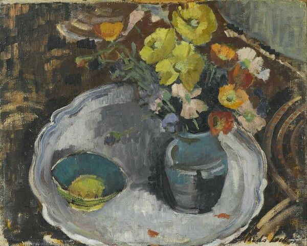 Freida Lock (South African painter) 1902 - 1962 Still Life of Flowers, s.d. oil on canvasboard 40 x 49.8 cm. (15 3/4 x 19 5/8 in.)