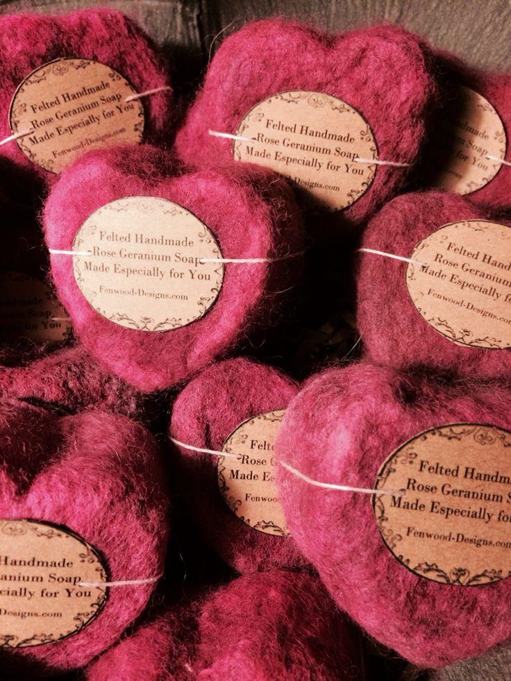 Handmade Rose Geranium Felted Soap
