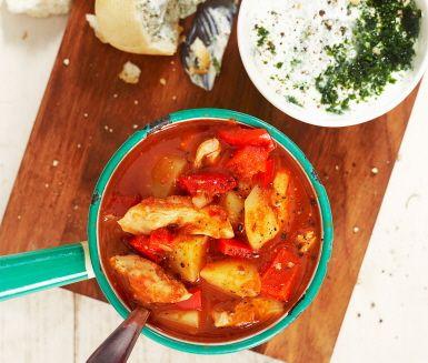 Recept: Kycklinggulasch