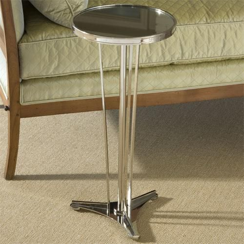French Moderne Side Table In Nickel And Mirror By Global Views. As Seen In  Traditional