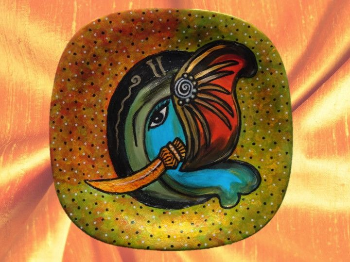 Ganesh Ornament or artefact- oil painting. Ganesha or Vinayakar painting. Decorative Pottery or Ceramic Plate. Mantle piece Ethnic indian decor idea. From Artikrti.