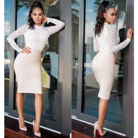 Sexy White Lace Bodycon Dress with Sleeves