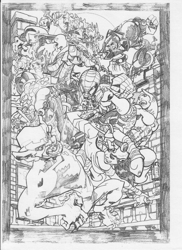 Damon Scott, Sinister 6 or 7? vs Spidey. Pencils.