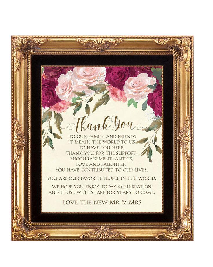 Thank You Sign Printable Wedding Burgundy