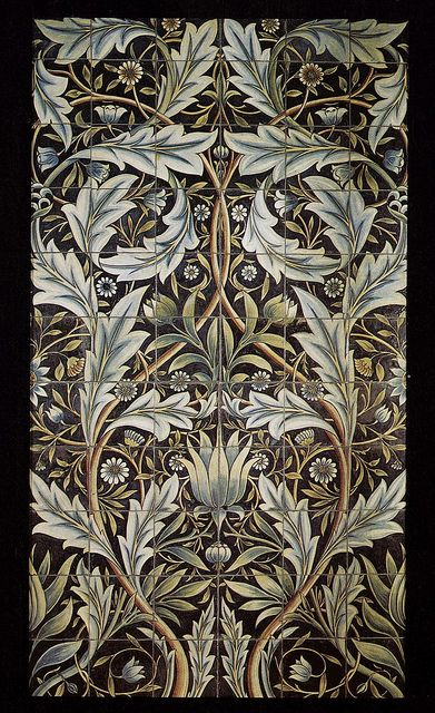 Panel of 36 tiles by William Morris for Membland Hall, 1876