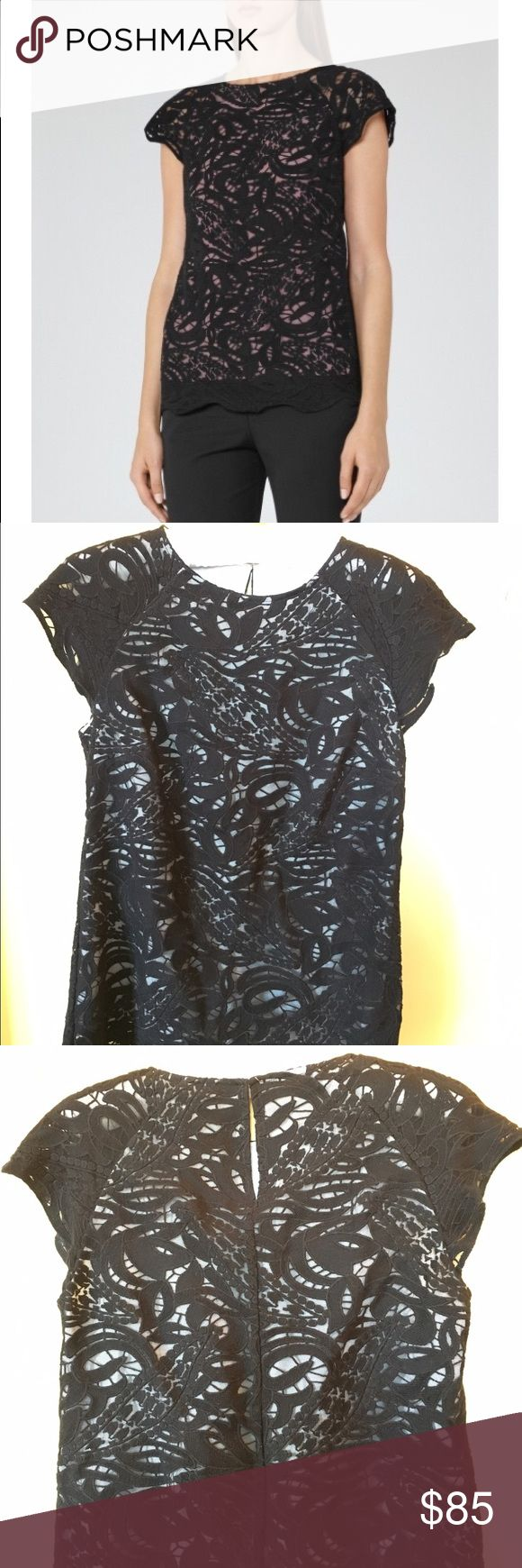 REISS Sol Black Lace Top🦋 This top was purchased from REISS sample sale. Sold as is with no noticeable flaw when worn. Black soft lace overlay with white lining, cap sleeves, round neckline, scallop hemline. Hidden zipper on the side for easy on & off. There is no brand tag sewn & no size/care tag because it was a sample prior to production. Because it's a sample it is not as perfect as what came out in stores,but no obvious imperfection to note on this one! Fits a size 4 in my opinion. Dry…