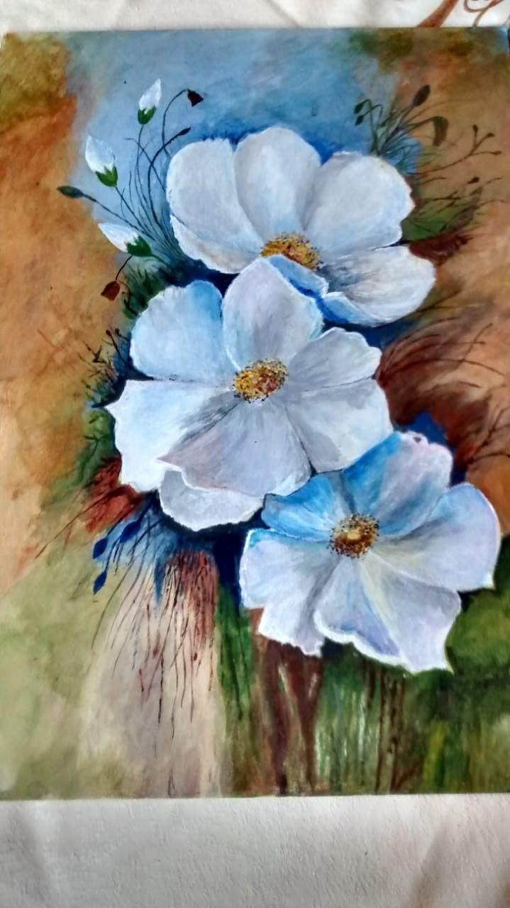 Fleurs bleues | Pinturas florales, Pinturas abstractas ...