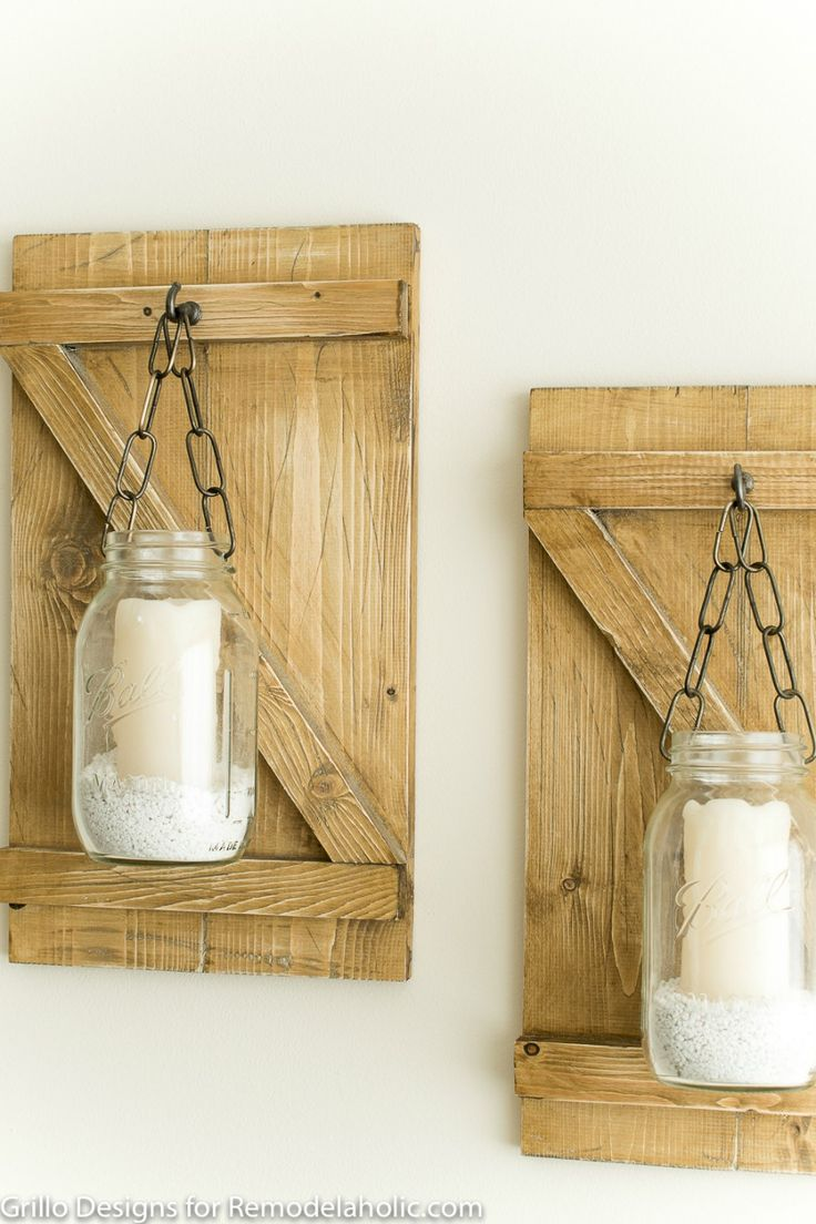 weathered wood mason jar candle hangers how to make a. Black Bedroom Furniture Sets. Home Design Ideas