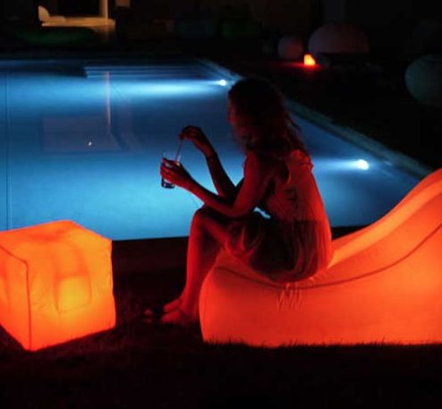 Blanc Perso - outdoor indoor meubles lumineux fauteuil gonflable flottant lumineux