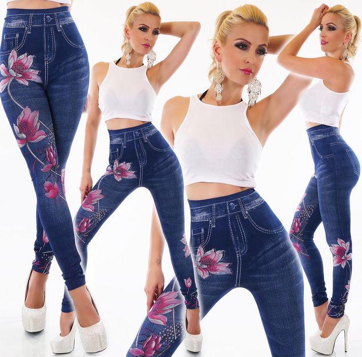 damen high waist leggings jeans optik hose strass glitzer. Black Bedroom Furniture Sets. Home Design Ideas